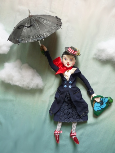 mary poppins with her umbrella, an ooak art doll