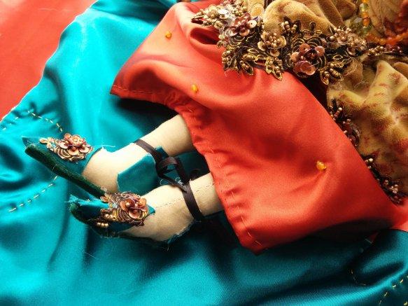 Detail of Elizabeth's slippers