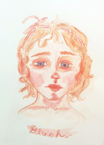 dreamy watercolor sketch of a Victorian girl's head
