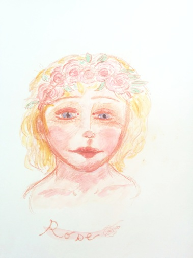 dreamy watercolor sketch of a young girl with roses in her hair