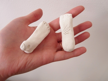 rough sculpted paperclay doll feet that are a work in progress
