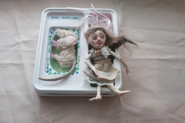 ooak art doll and miniature mouse