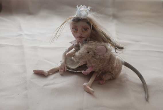 ooak miniature fairy tale art doll and mohair mouse