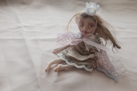 ooak fairy tale art doll in miniature with princess crown