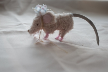 hand-stitched miniature mohair mouse with fairy tale crown