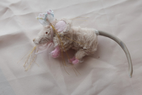 miniature handmade mohair mouse with lace crown