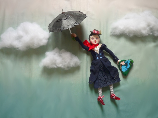mary poppins ooak art doll with her flying umbrella