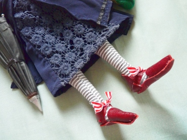 handmade red leather mary jane doll shoes