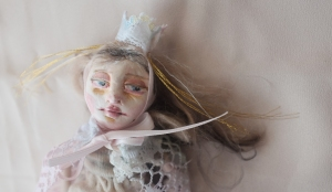 ooak miniature paperclay art doll in a princess crown