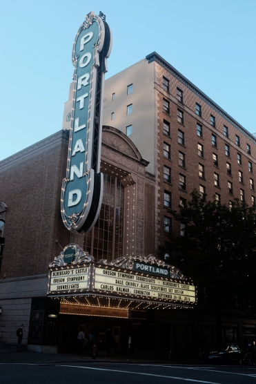 portland city photography of vintage lit theater marquee