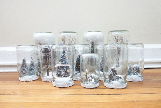 handmade mason jar snow globes for christmas