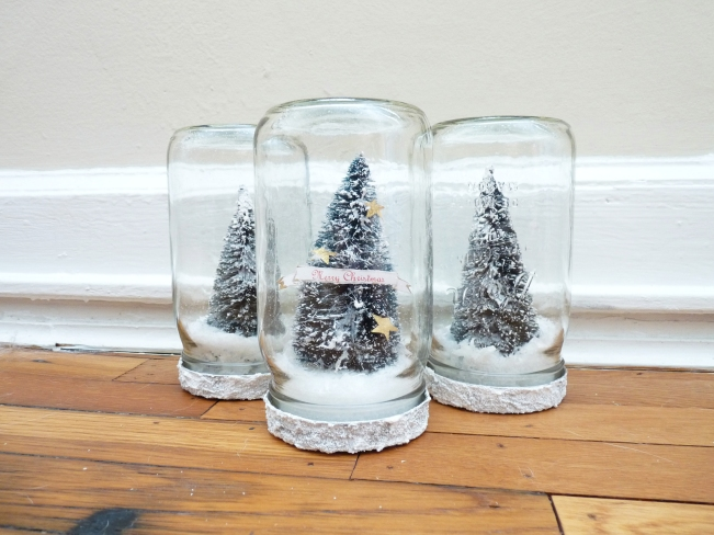 handmade christmas snow globes in mason jars