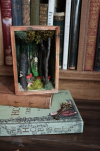 fairytale shadowbox art piece of a secret magical forest