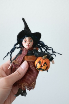 handmade miniature pumpkin witch, halloween decoration