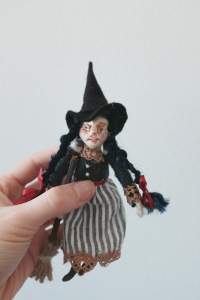 witch little girl handmade miniature doll with witch's broom and hat