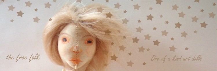 holiday banner with twinkling stars and art doll