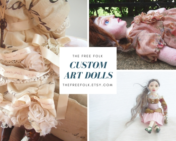 marketing graphic of featuring custom art dolls created by the free folk