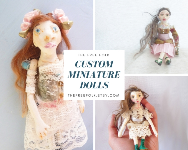 marketing graphic featuring custom miniature art dolls by the free folk
