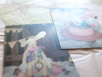 soft vintage pastel letters and postcards from Alice in Wonderland and The Mad Tea Party