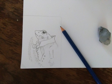 pencil sketch of mr. toad from the wind in the willows