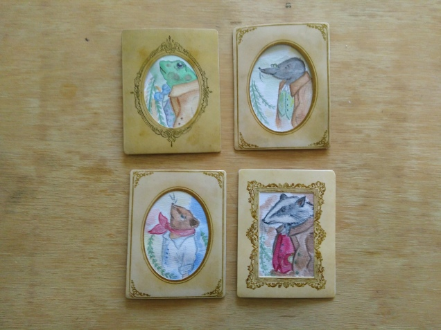 miniature watercolor portraits of the the characters from kenneth grahame's the wind in the willows