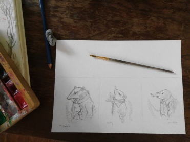 Pencil sketches of the main characters from The Wind in the Willows