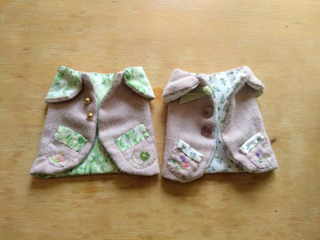 two tiny handmade jackets for the Wind in the Willows dolls