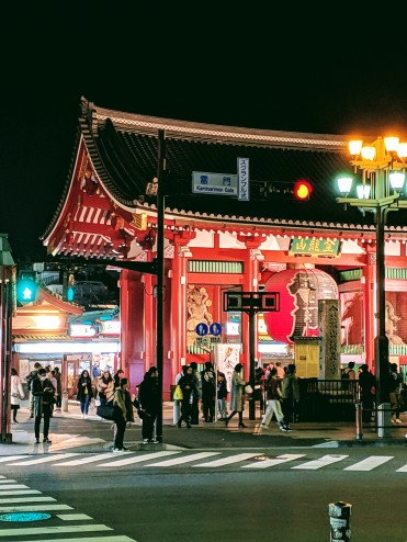 neon tokyo shrine at night, located in asakusa