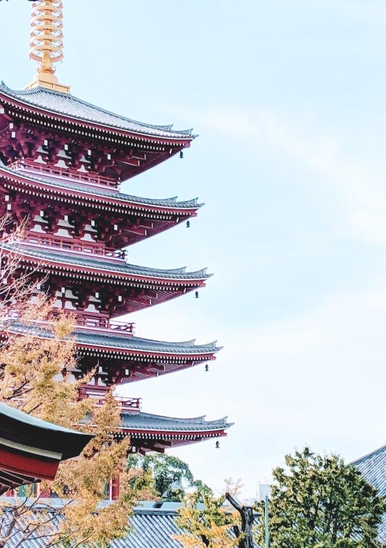 red and gold pagoda from the senso-ji Buddhist shrine in Asakusa, Tokyo Japan