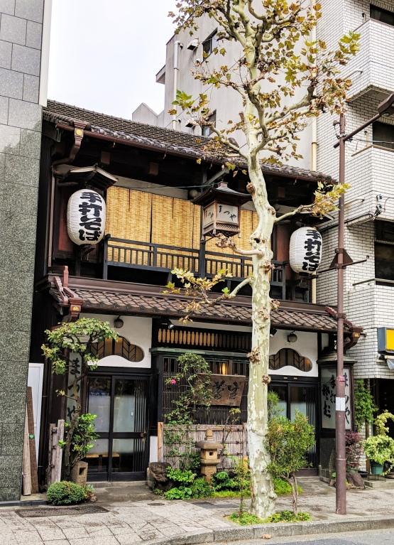 cute, traditional ryukan that looks like something from Ghibli's Totoro, sandwiched between skyscrapers in tokyo