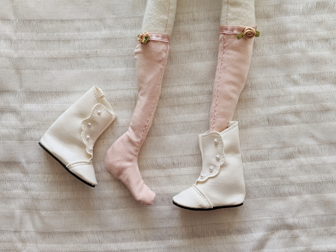 tiny handmade doll stockings with roses and white victorian boots