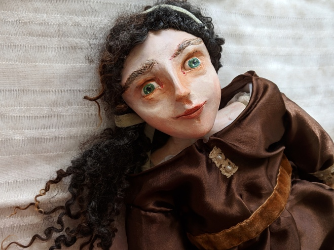 paperclay art doll bust of historical doll