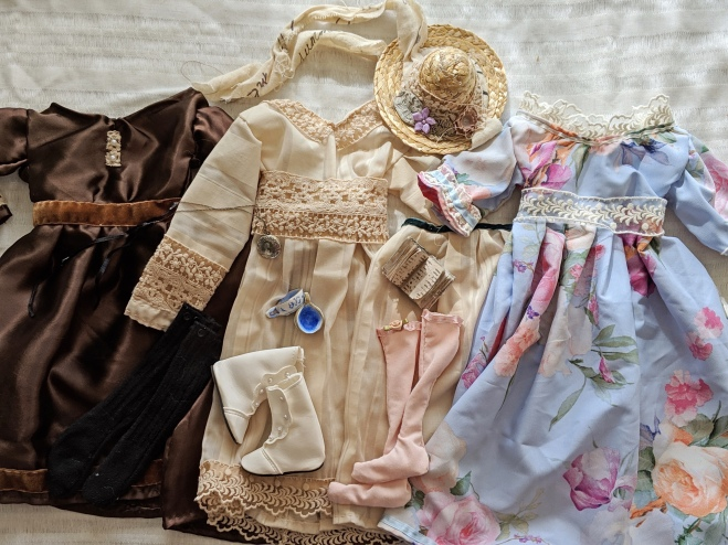 hand stitched victorian doll dresses and handmade doll accessories
