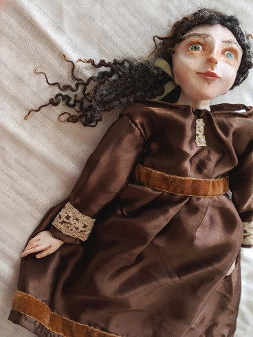 paperclay art doll in brown silk dress