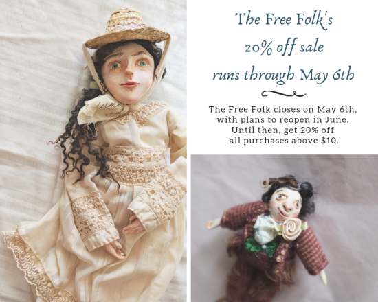 advertises a 20% off sale for the free folk, now through May 6th