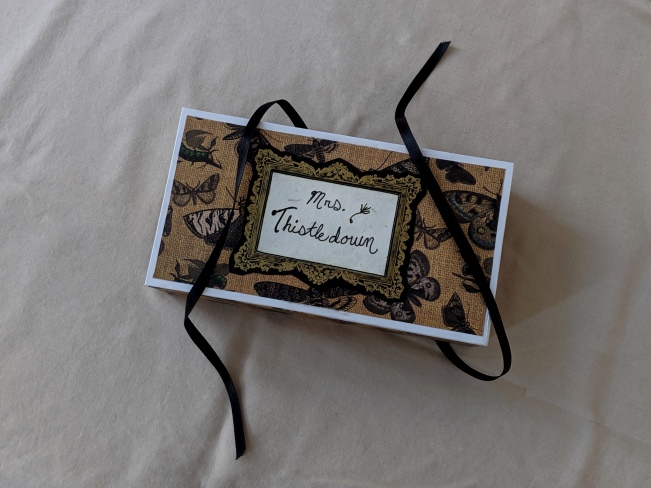 """handmade box for a mouse art doll, top reads: """"Mrs. Thistledown"""""""