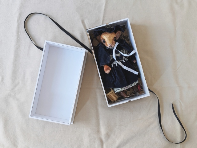 miniature mouse art doll in a small box