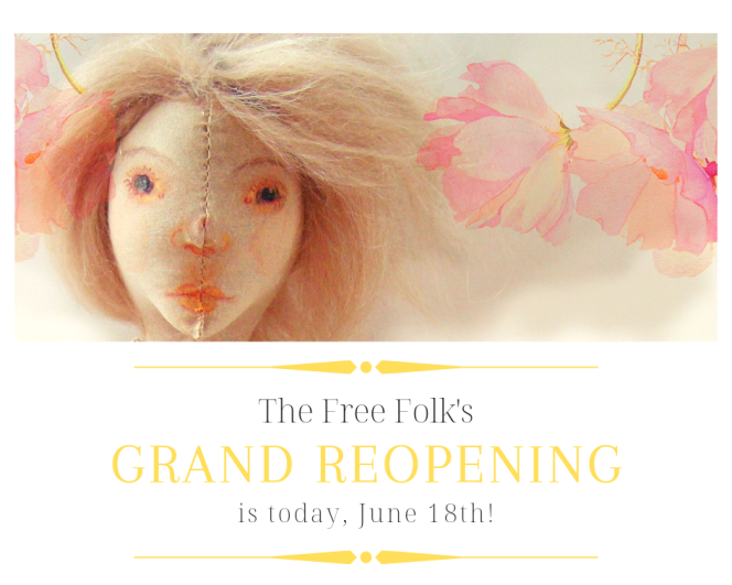 date and promotional image of the free folk dolls' reopening